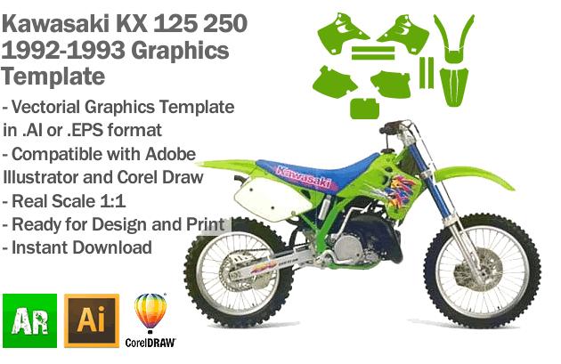 Kawasaki KX 125 250 MX Motocross 1992 1993 Graphics Template