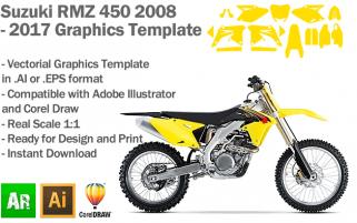 Suzuki RMZ 450 MX Motocross 2008 2009 2010 2011 2012 2013 2014 2015 2016 2017 Graphics Template