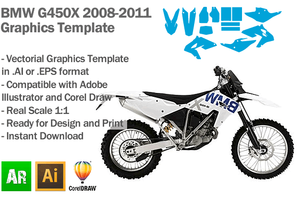 BMW G450X Enduro 2008 2009 2010 2011 Graphics Template