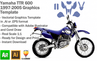 Yamaha TTR 600 Enduro Trail 1997 1998 1999 2000 2001 2002 2003 2004 2005 Graphics Template