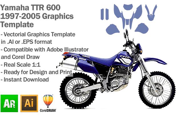 Yamaha TTR 600 Enduro Trail 1997 1998 1999 2000 2001 2002 2003 2004 2005 Graphics Template