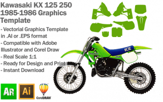 Kawasaki KX 125 250 MX Motocross 1985 1986 Graphics Template