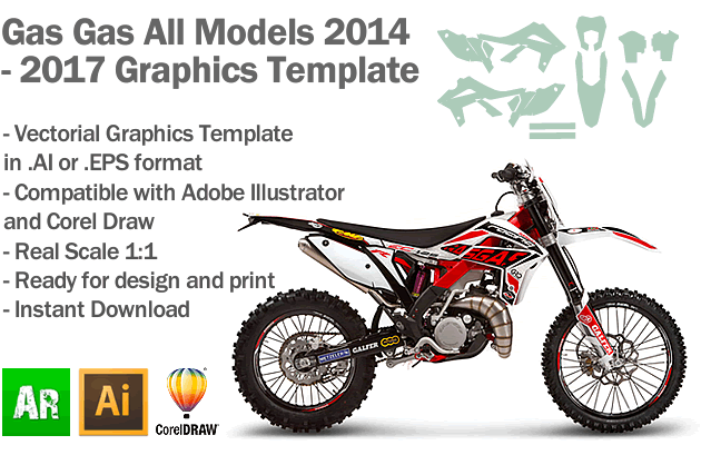 Gas Gas Enduro MX Motocross All Models 2014 2015 2016 2017 Graphics Template
