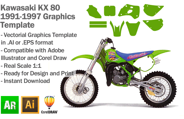 Kawasaki KX 80 MX Motocross 1991 1992 1993 1994 1995 1996 1997 Graphics Template