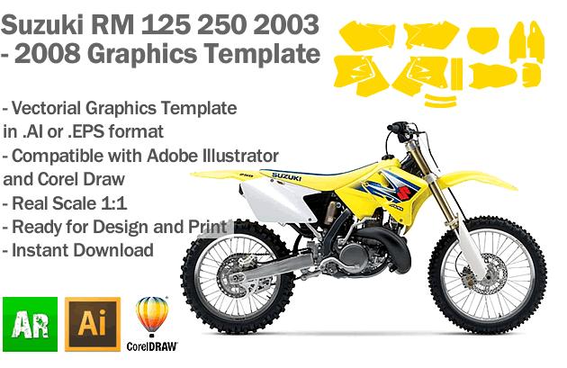 Suzuki RM 125 250 MX Motocross 2003 2004 2005 2006 2007 2008 Graphics Template