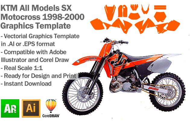 KTM SX MX Motocross All Models 1998 1999 2000 Graphics Template