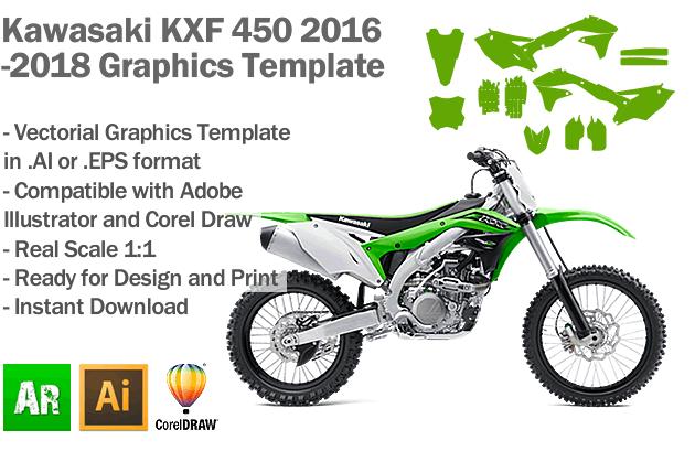Kawasaki KXF 450 MX Motocross 2016 2017 2018 Graphics Template
