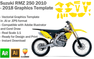 Suzuki RMZ 250 MX Motocross 2010 2011 2012 2013 2014 2015 2016 2017 2018 Graphics Template