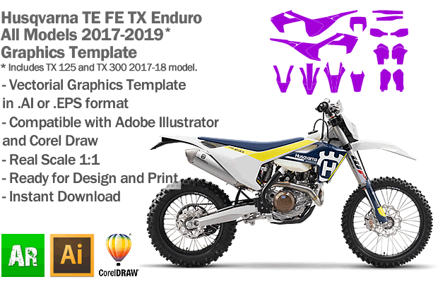 Husqvarna TE FE TX Enduro All Models 2017 2018 2019 Graphics Template