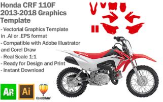 Honda CRF 110F MX Motocross 2013 2014 2015 2016 2017 2018 Graphics Template