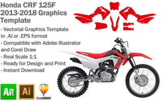 Honda CRF 125F MX Motocross 2013 2014 2015 2016 2017 2018 Graphics Template