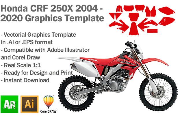 Honda CRF 250X Enduro 2003 2004 2005 2006 2007 2008 2009 2010 2011 2012 2013 2014 2015 2016 2017 2018 2019 2020 Graphics Template