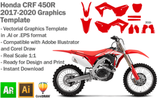 Honda CRF 450R MX Motocross 2017 2018 2019 2020 Graphics Template