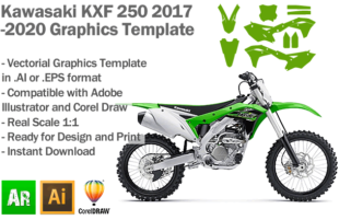 Kawasaki KXF 250 MX Motocross 2017 2018 2019 2020 Graphics Template