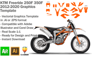 KTM Freeride 250F 350F Enduro 2012 2013 2014 2015 2016 2017 2018 2019 2020 Graphics Template