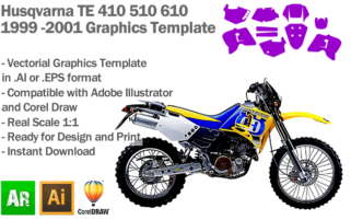 Husqvarna TE 410 510 610 1999 2000 2001 Graphics Template