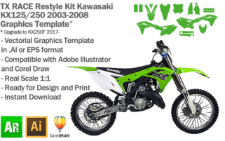 TX RACE Restyle Kit for Kawasaki KX 125 250 2003 2004 2005 2006 2007 2008 Graphics Template