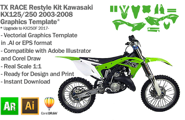 TX RACE Restyle Kit for Kawasaki KX 125 250 2003 2004 2005 2006 2007 2008 Graphics Template