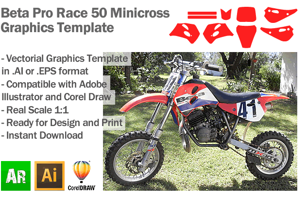 Beta Pro Race 50 Minicross Graphics Template