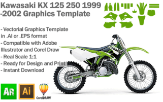 Kawasaki KX 125 250 MX Motocross 1999 2000 2001 2002 Graphics Template