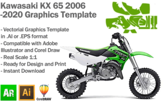 Kawasaki KX 65 MX Motocross 2006 2007 2008 2009 2010 2011 2012 2013 2014 2015 2017 2017 2018 2019 2020 Graphics Template