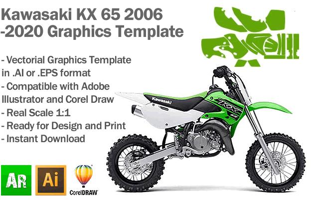 Kawasaki KX 65 MX Motocross 2006 2007 2008 2009 2010 2011 2012 2013 2014 2015 2017 2017 2018 2019 2020 Graphics Template