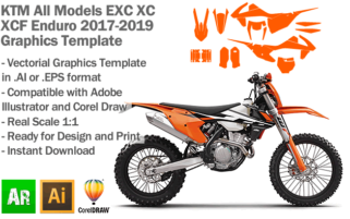 KTM EXC XC XCF Enduro All Models 2017 2018 2019 Graphics Template