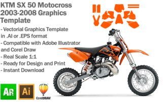 KTM SX 50 MX Motocross 2003 2004 2005 2006 2007 2008 Graphics Template