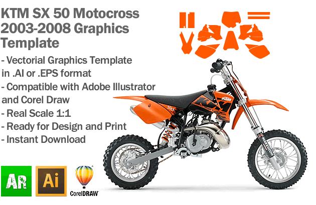 KTM SX 50 MX Motocross 2003 2004 2005 2006 2007 2008 Graphics Template