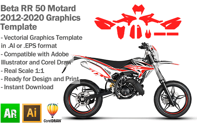 Beta RR 50 Motard 2012 2013 2014 2015 2016 2017 2018 2019 2020 Graphics Template
