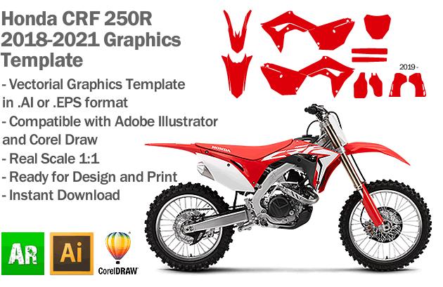Honda CRF 250R MX Motocross 2018 2019 2020 2021 Graphics Template