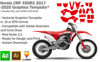 Honda CRF 450RX MX Enduro 2017 2018 2019 2020 Graphics Template