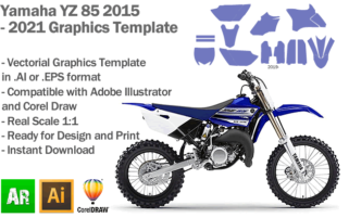 Yamaha YZ 85 MX Motocross 2015 2016 2017 2018 2019 2020 2021 Graphics Template