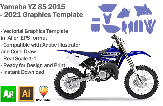 Yamaha YZ 85 MX Motocross 2015 2016 2017 2018 2019 2020 2021 Graphics Template