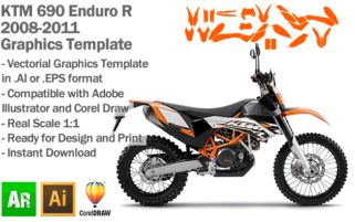KTM 690 Enduro R 2008 2009 2010 2011 Graphics Template