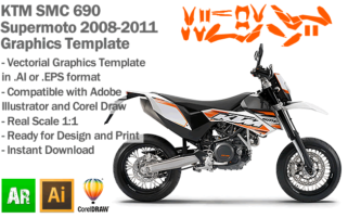 KTM SMC 690 Supermoto 2008 2009 2010 2011 Graphics Template