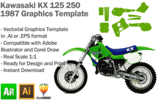 Kawasaki KX 125 250 MX Motocross 1987 Graphics Template