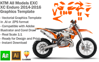 KTM EXC XC Enduro All Models 2014 2015 2016 Graphics Template