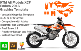 KTM XCF Enduro All Models 2016 Graphics Template