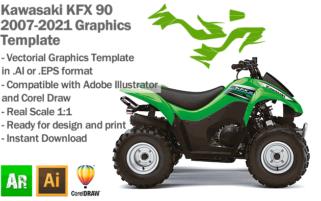 Kawasaki KFX 90 ATV Quad 2007 2008 2009 2010 2011 2012 2013 2014 2015 2016 2017 2018 2019 2020 2021 Graphics Template