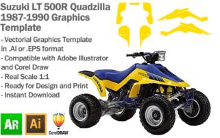 Suzuki LT 500R Quadzilla 1987 1988 1990 ATV Quad Graphics Template