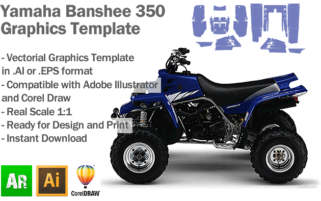 Yamaha Banshee 350 ATV Quad Graphics Template