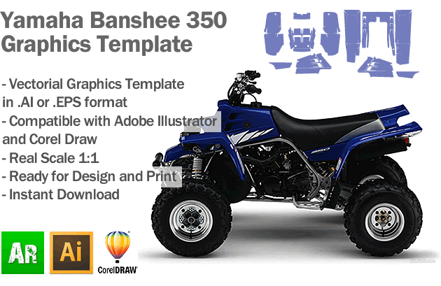 Yamaha Banshee 350 ATV Quad Graphics Template