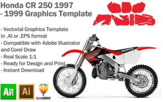 Honda CR 250 MX Motocross 1997 1998 1999 Graphics Template