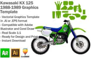 Kawasaki KX 125 MX Motocross 1988 1989 Graphics Template