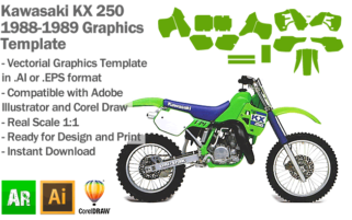 Kawasaki KX 250 MX Motocross 1988 1989 Graphics Template