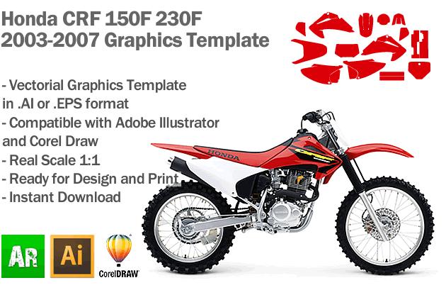 Honda CRF 150F 230F MX Motocross 2003 2004 2005 2006 2007 Graphics Template