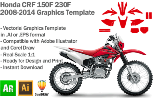 Honda CRF 150F 230F MX Motocross 2008 2009 2010 2011 2012 2013 2014 Graphics Template