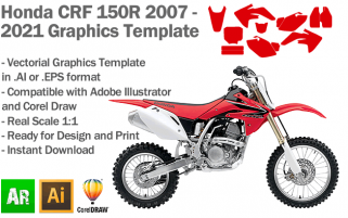 Honda CRF 150R MX Motocross 2007 2008 2009 2010 2011 2012 2013 2014 2015 2016 2017 2018 2019 2020 2021 Graphics Template