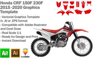 Honda CRF 150F 230F Trail MX Motocross 2015 2016 2017 2018 2019 2020 Graphics Template
